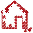 unfinished puzzle house vector