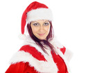 Young smiling woman wearing red Christmas costume