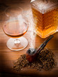 smoking pipe, tobacco  and liquor