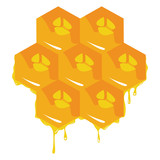 Orange background about honeycombs. Vector