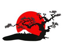 Japoński krajobraz sylwetka wektor
