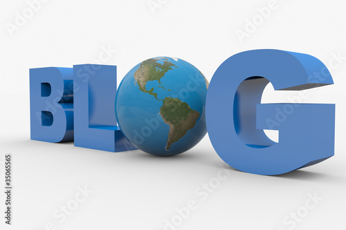3D word Blog with earth sphere replacing letter O