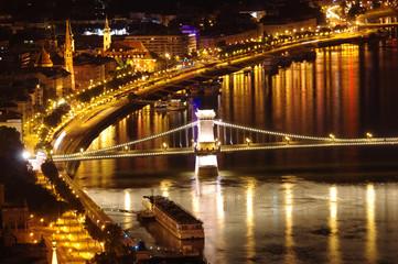 Danube night view, Chain Bridge, Budapest