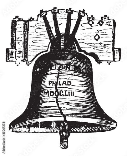 Liberty Bell, in Philadelphia, Pennsylvania, USA, vintage engrav