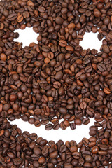 coffee beens over white background