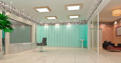 3D hair salon, barber shop