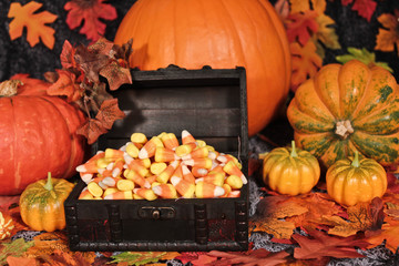 Candy corn halloween in a chest.