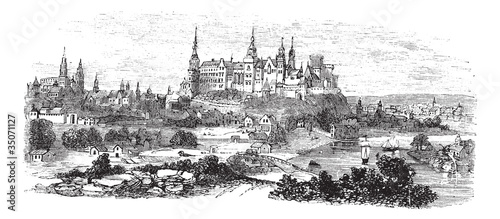 Wawel Castle or Royal Castle in Krakow, Poland, during the 1890s - 35071127