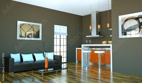 Wohndesign - orangene Küche