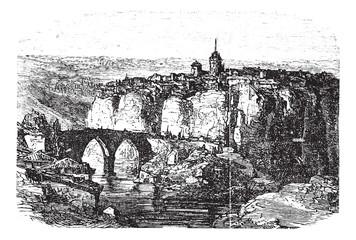 Cuenca in Spain, vintage engraving