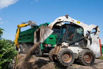 Mini excavator at construction site