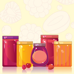 Jam and jelly in shiny glass jars