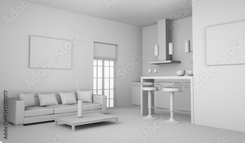 wohnmodell k che mit sofa von virtua73 lizenzfreies foto 35071977 auf. Black Bedroom Furniture Sets. Home Design Ideas