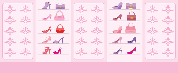 Interior of shop of shoes. vector
