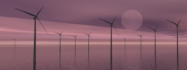 Wind turbines by night