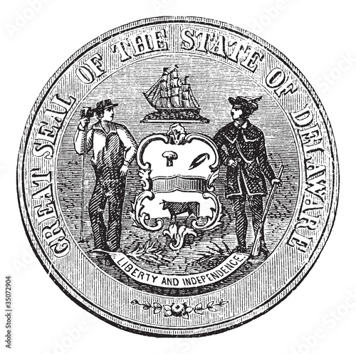 Coat of Arms or Seal of Delaware, USA, vintage engraving