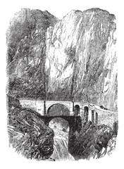 Devil's Bridge in Uri, Switzerland, vintage engraving