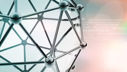 scientific 3D model of the molecule an atom of metal and glass