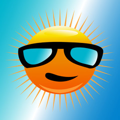Sun with beach sunglasses