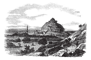 Daulatabad Fort in Maharashtra, India, vintage engraving