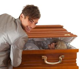 halloween joke, man with coffin