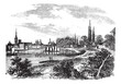 Dusseldorf in North Rhine-Westphalia, Germany, vintage engraving