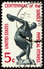 Postage stamp USA 1965 Discus thrower