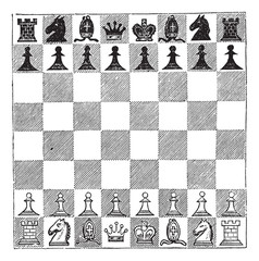 Chess, vintage engraving