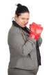 overweight, fat businesswoman in boxing gloves, series.