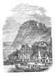 Edinburgh Castle in Scotland, vintage engraving