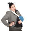 fat businesswoman in grey suit with broken hand, series