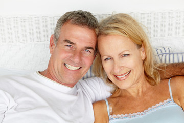 Mid age couple head and shoulders