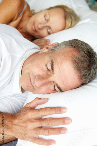 Head and shoulders mid age couple sleeping