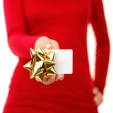 Gift card - woman showing sign