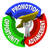 Promotion Advancement Opprotunity Man Lifting Career Arrow poster