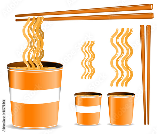 set of orange noodle cup with chopsticks isolated on white