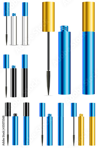 set of blue and gold mascara isolated on white background