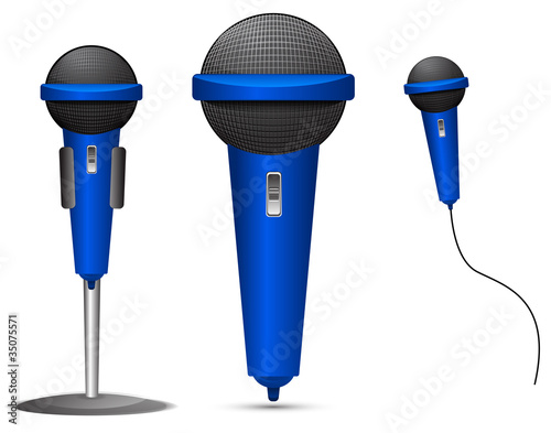 set of blue microphone isolated on white background
