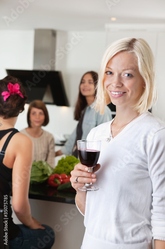 Woman With Glass at Party