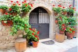 Colorful red flowers lining a medieval stone wall in Italy