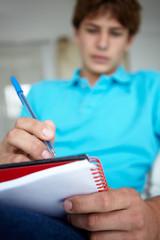 Teenage boy writing in notebook