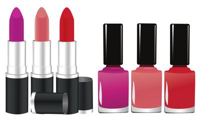 vector lipstick and nail polish