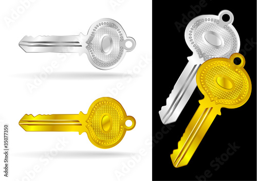 Vintage Gold and Silver Keys - Vector Illustrations