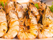 Grilled prawns close-up