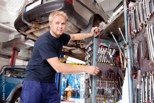 Mechanic Working in Garage