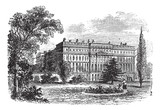 Hampton Court Palace, London, England vintage engraving