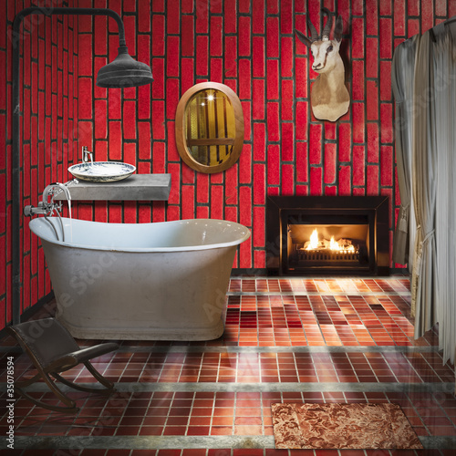 3D bathroom interior design,fashion and retro style