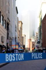 A Police Barricade At A Crime Scene In Boston USA