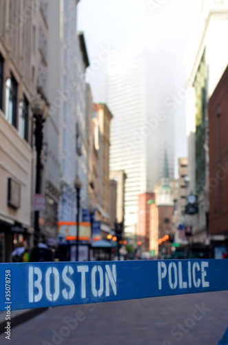 A Police Barricade At A Crime Scene In Boston USA