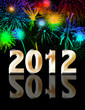 Happy new year 2012 with fireworks background